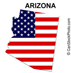 USA state of Arizona in stars and stripes design