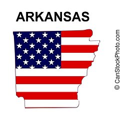 USA state of Arkansas in stars and stripes design