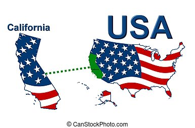 USA state of California in stars and stripes design