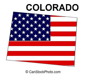 USA state of Colorado in stars and stripes design