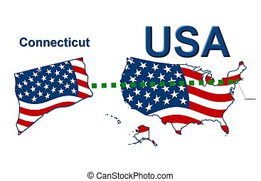 USA state of Connecticut in stars and stripes design