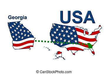 USA state of Georgia in stars and stripes design