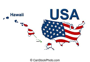 USA state of Hawaii in stars and stripes design