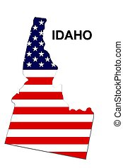 USA state of Idaho in stars and stripes design