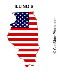 USA state of Illinois in stars and stripes design