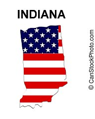 USA state of Indiana in stars and stripes design