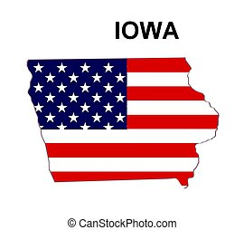 USA state of Iowa in stars and stripes design