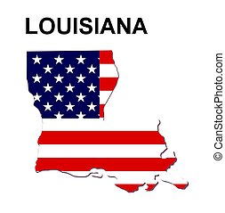 USA state of Lousiana in stars and stripes design