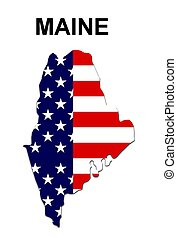 USA state of Maine in stars and stripes design