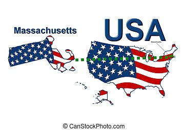 USA state of Massachusetts in stars and stripes design
