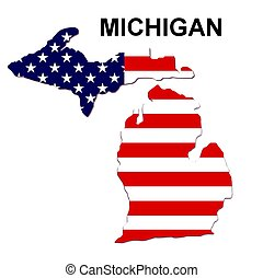 USA state of Michigan in stars and stripes design