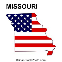 USA state of Missouri in stars and stripes design