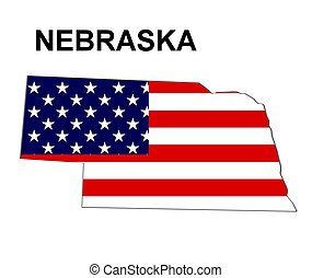 USA state of Nebraska in stars and stripes design