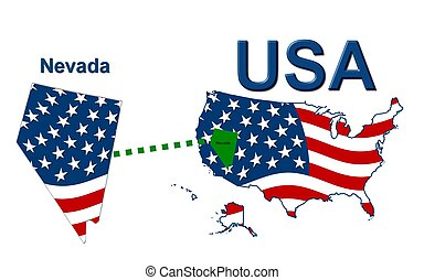 USA state of Nevada in stars and stripes design