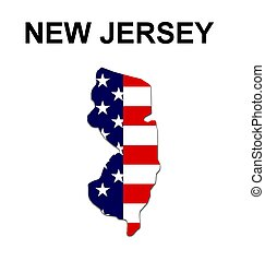 USA state of New Jersey in stars and stripes design