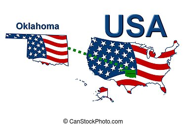 USA state of Oklahoma in stars and stripes design