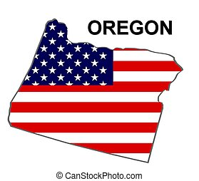 USA state of Oregon in stars and stripes design