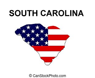 USA state of South Carolina in stars and stripes design