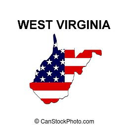 USA state of West Virginia in stars and stripes design