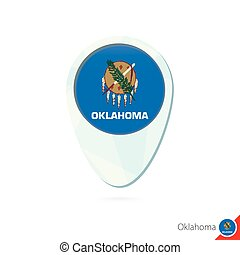 USA State Oklahoma flag location map pin icon on white...