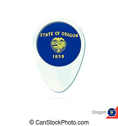 USA State Oregon flag location map pin icon on white...