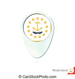 USA State Rhode Island flag location map pin icon on white...