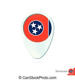USA State Tennessee flag location map pin icon on white background.