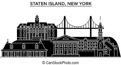 Usa, Staten Island, New York architecture vector city...