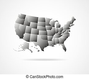 USA states illustration. - Set of black USA states...