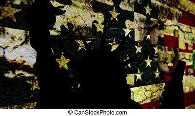 usa, statue, drapeau, contre, liberté, grunge