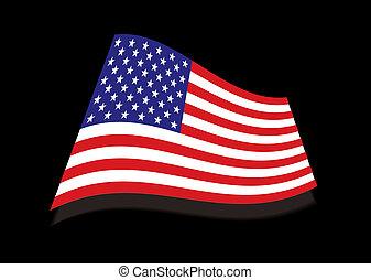usa, sterren en strepen, black , vlag