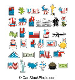 USA Sticker set. National sign of America. American flag and Statue of Liberty. White House and  dollar. Map of United States. Uncle Sam and moon. Elephant and donkey. Eagle and baribal bearl. traditional Patriotic symbol US