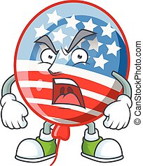 USA stripes balloon cartoon character design with angry face