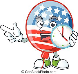USA stripes balloon cartoon character style with a clock