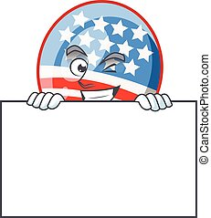 USA stripes balloon cartoon character with funny face hides behind a board