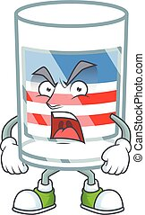 USA stripes glass cartoon character design with angry face