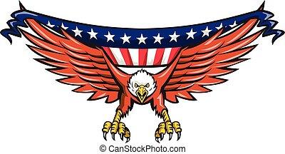 usa, swooping, örn, amerikan, retro, flagga