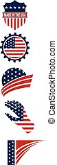 USA symbols logo stripes design elements. Vector graphic design