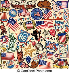 usa symbols seamless pattern background