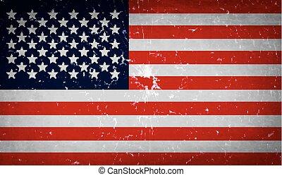 usa, szkło, złamany, wektor, bandery, texture.
