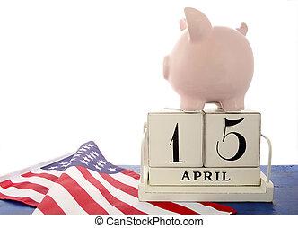 USA Tax Day, April 15, concept. - USA Tax Day, April 15, ...