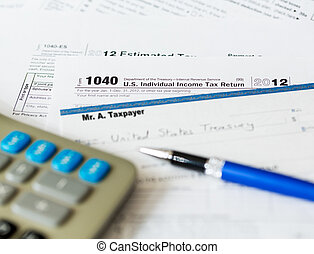 USA tax form 1040 for year 2012 with check