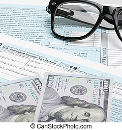 USA Tax Form 1040 with glasses, calculator and 100 US dollar bills - 1 to 1 ratio
