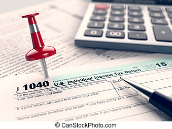 usa taxes concept - close up view of 1040 form for usa...