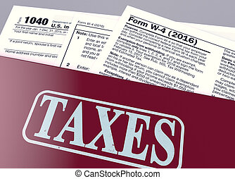 usa taxes concept - close up view of a office file folder...