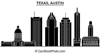 Usa, Texas Austin architecture vector city skyline, travel cityscape with landmarks, buildings, isolated sights on background