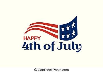 usa, text., drapeau, 4ème, logo, juillet, célébration
