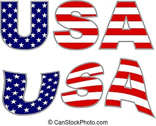 usa text with American flag islated on white