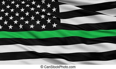 Usa Thin Green Line Flag Closeup View Seamless Loop - Usa...