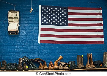 shoes and boots for sale at a thrift store